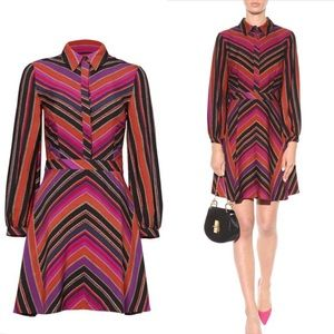 DVF Chrissy striped silk and wool twill dress NWT